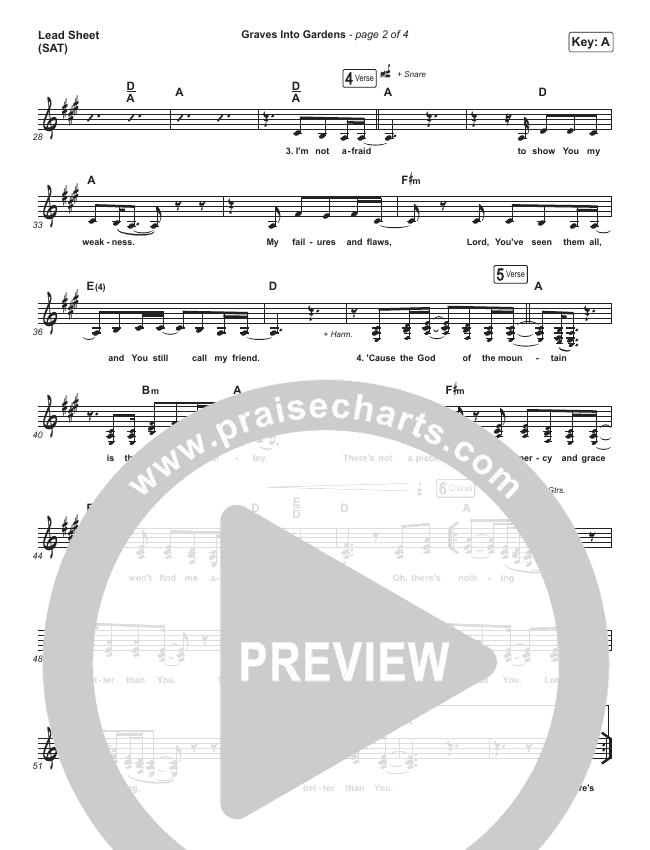 Graves Into Gardens (Live) Lead Sheet (SAT) (Elevation Worship / Brandon Lake)