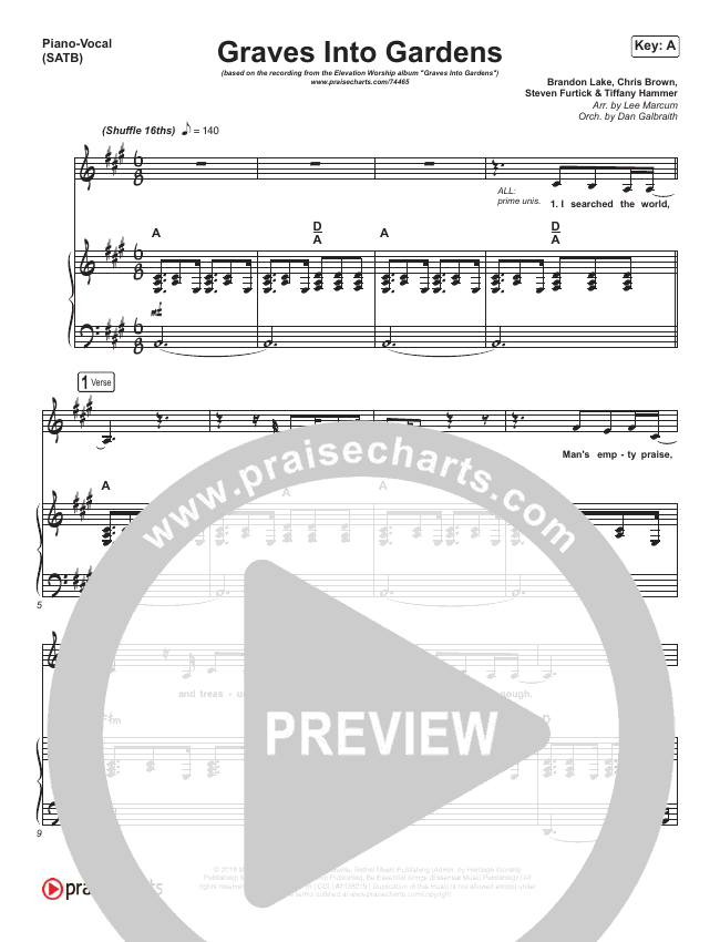 Graves Into Gardens (Live) Piano/Vocal (SATB) (Elevation Worship / Brandon Lake)