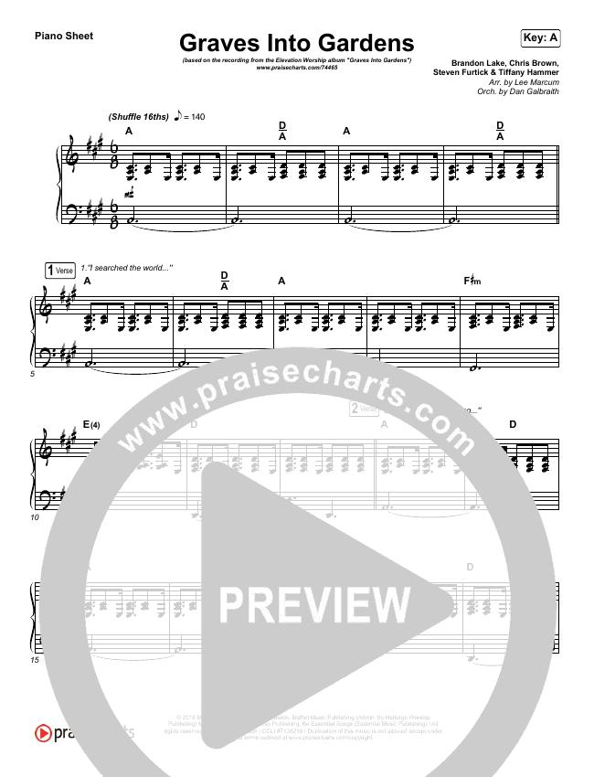 Graves Into Gardens (Live) Piano Sheet (Elevation Worship / Brandon Lake)