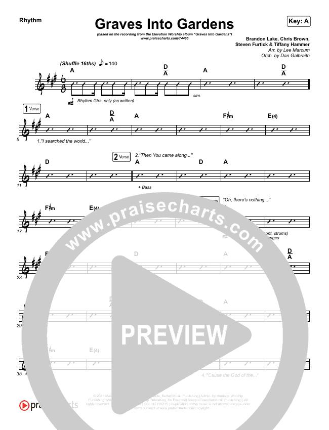 Graves Into Gardens (Live) Rhythm Chart (Elevation Worship / Brandon Lake)