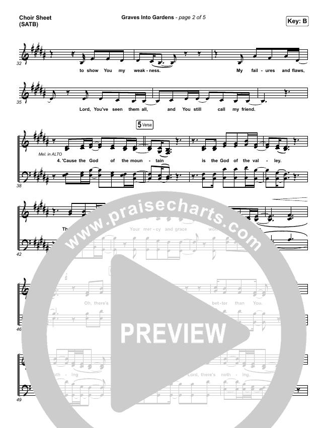Graves Into Gardens (Live) Choir Sheet (SATB) (Elevation Worship / Brandon Lake)