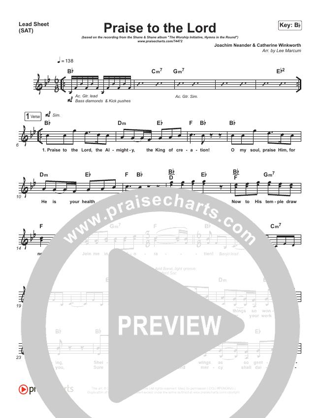 Praise To The Lord Lead Sheet (SAT) (Shane & Shane/The Worship Initiative)