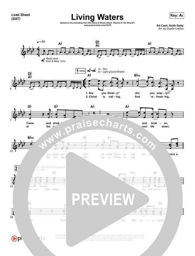 Living Waters Lead Sheet (SAT) (Shane & Shane/The Worship Initiative)
