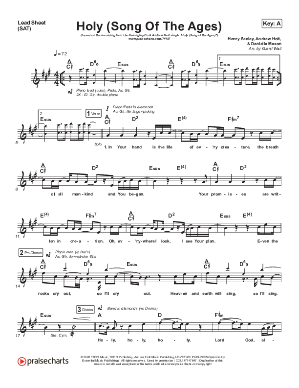 Holy (Song Of The Ages) Lead Sheet (SAT) (The Belonging Co / Andrew Holt)