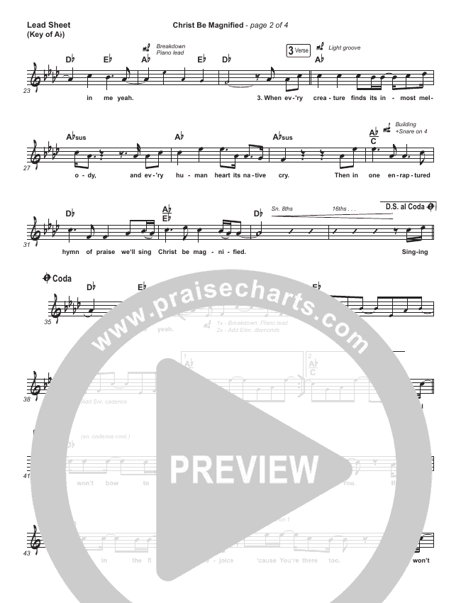 Christ Be Magnified (Live) Lead Sheet (Melody) (Bethel Music / Cory Asbury)