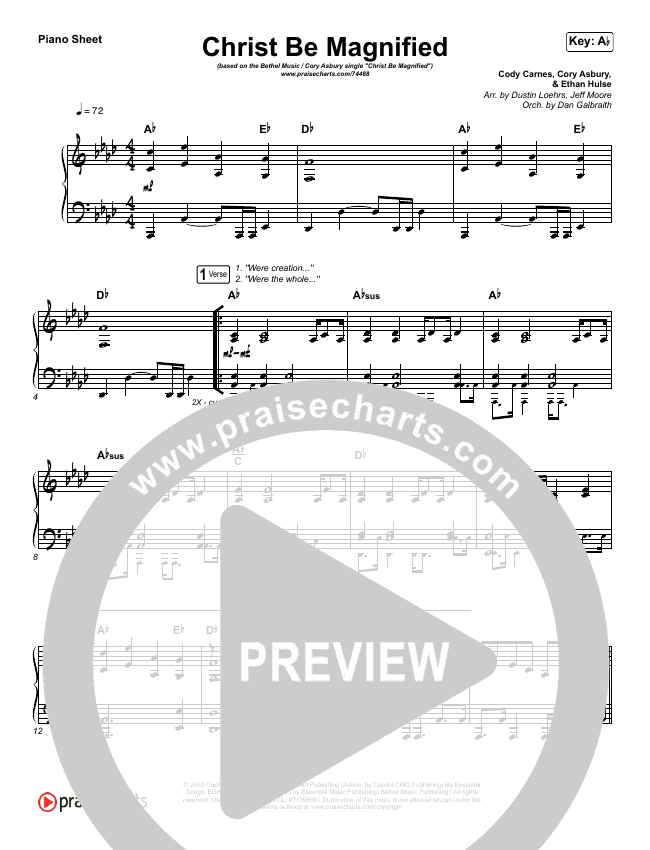 Christ Be Magnified (Live) Piano Sheet (Bethel Music / Cory Asbury)