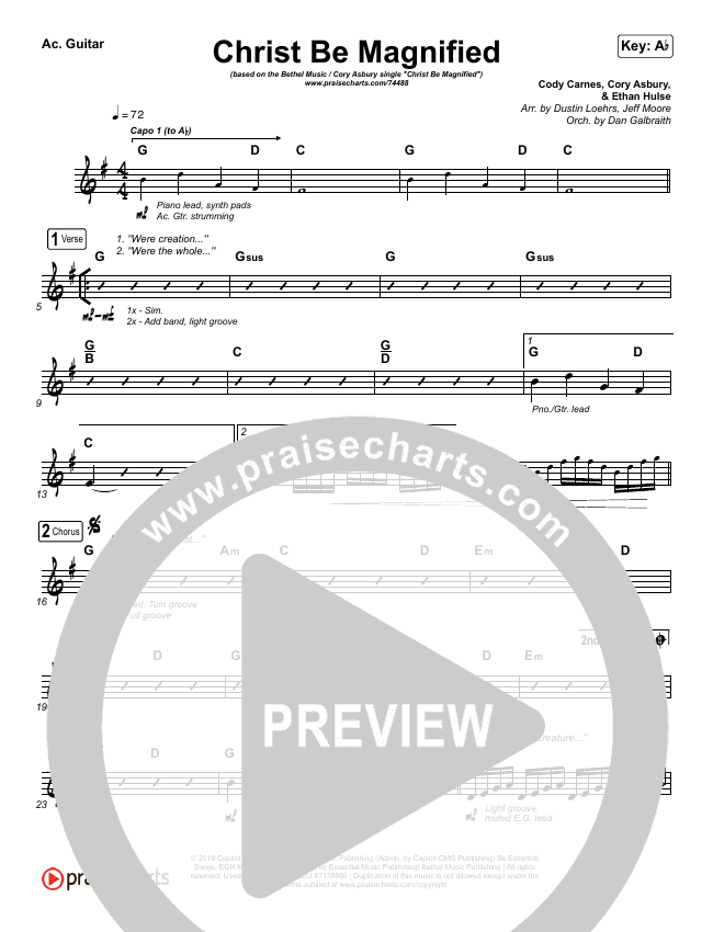Christ Be Magnified (Live) Rhythm Chart (Bethel Music / Cory Asbury)