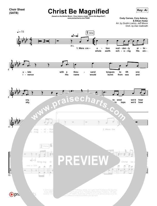Christ Be Magnified (Live) Choir Sheet (SATB) (Bethel Music / Cory Asbury)