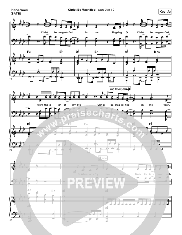 Christ Be Magnified (Live) Piano/Vocal (SATB) (Bethel Music / Cory Asbury)