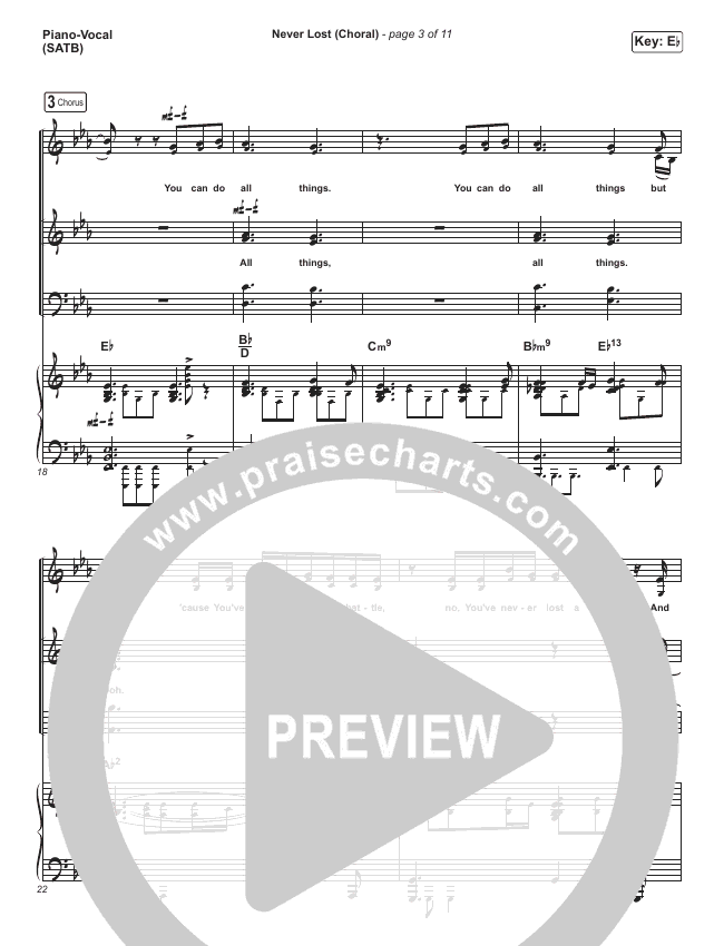 Never Lost (Choral) Orchestration (PraiseCharts Choral / Elevation Worship)