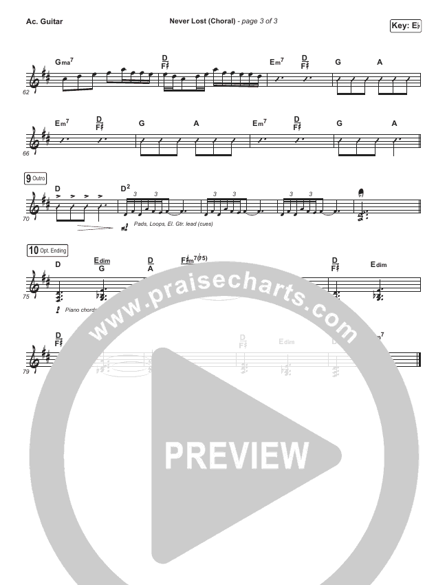 Never Lost (Choral) Rhythm Chart (PraiseCharts Choral / Elevation Worship)