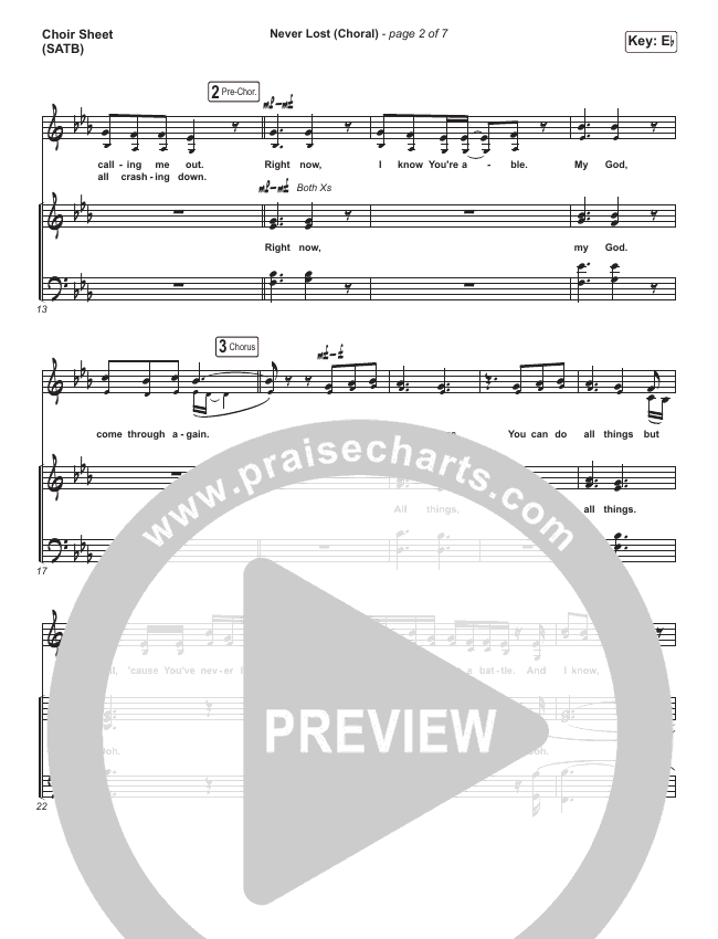 Never Lost (Choral) Choir Sheet (SATB) (PraiseCharts Choral / Elevation Worship)