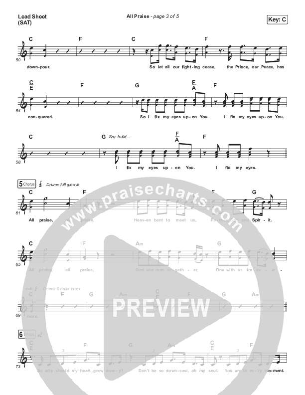 All Praise (Sing Praise) (Live From Passion 2020) Lead Sheet (SAT) (Passion / Sean Curran)