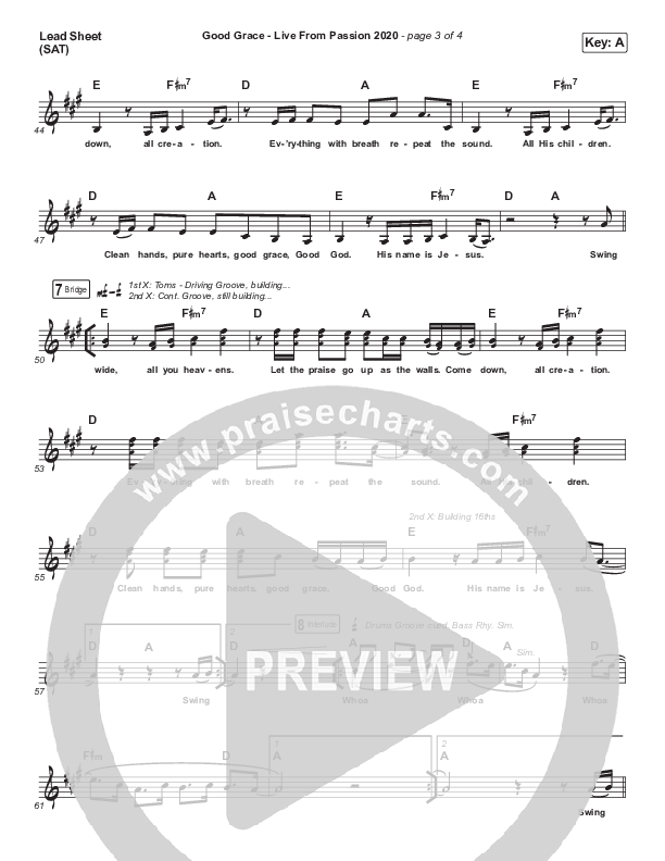 Good Grace (Live From Passion 2020) Lead Sheet (SAT) (Passion)