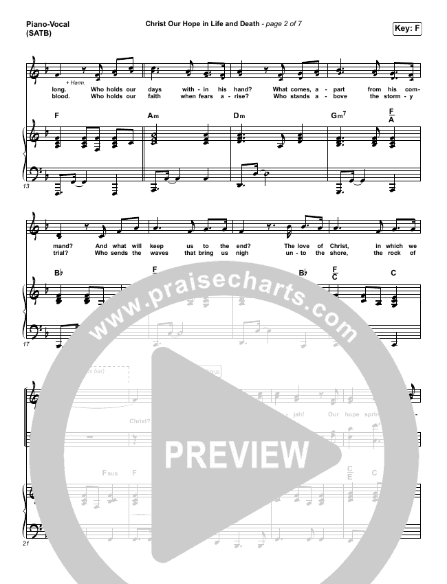 Christ Our Hope In Life And Death Piano/Vocal (SATB) (Matt Papa / Keith & Kristyn Getty)