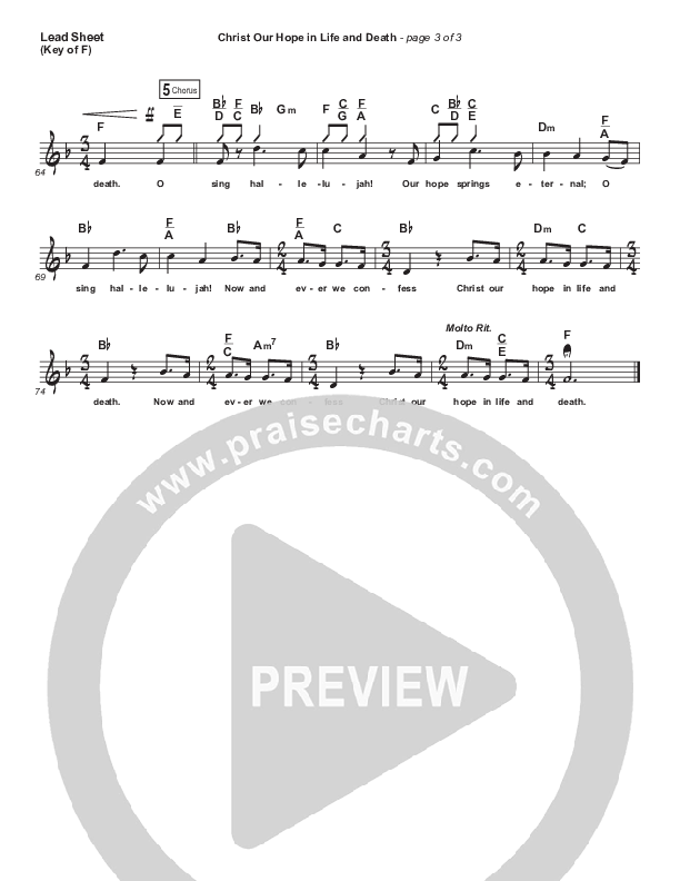 Christ Our Hope In Life And Death Lead Sheet (Melody) (Matt Papa / Keith & Kristyn Getty)