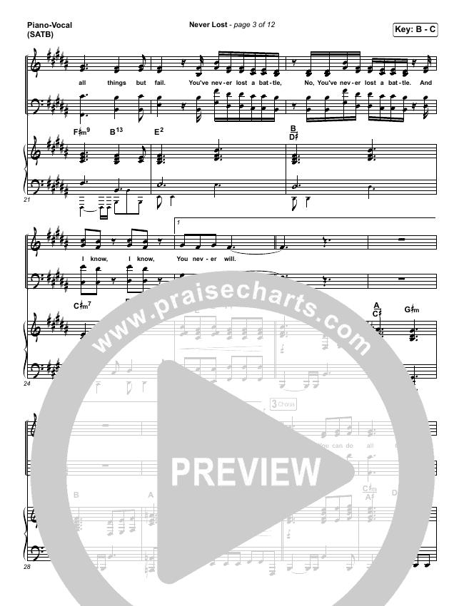 Never Lost Piano/Vocal (SATB) (Elevation Worship / Tauren Wells)