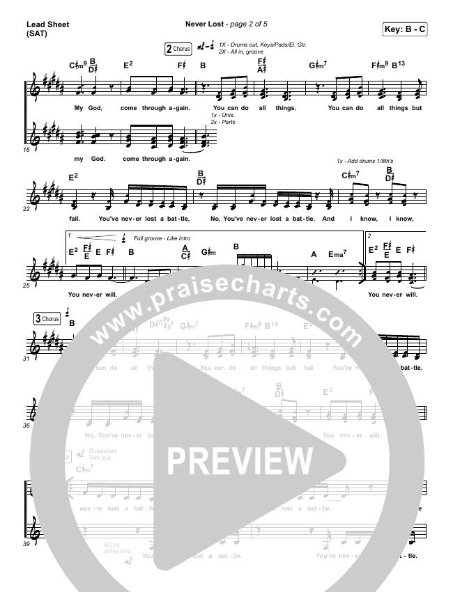 Never Lost Piano/Vocal Pack (Elevation Worship / Tauren Wells)