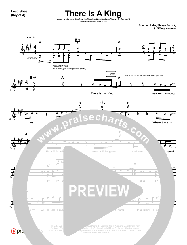 There Is A King Lead Sheet (Melody) (Elevation Worship)