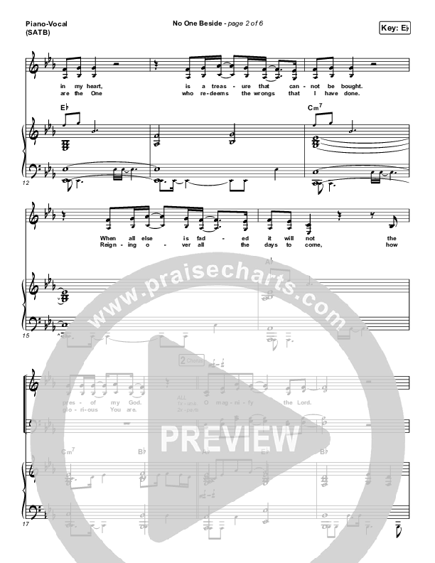 No One Beside Piano/Vocal (SATB) (Elevation Worship)