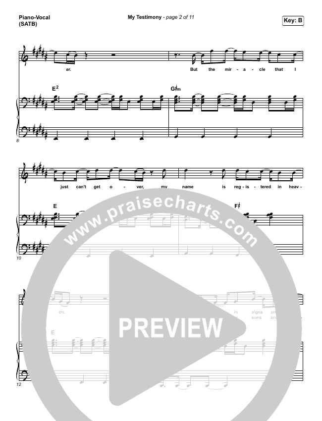 My Testimony Piano/Vocal (SATB) (Elevation Worship)