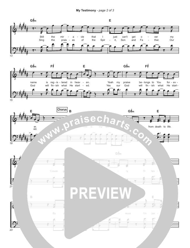 My Testimony Hymn Sheet (Elevation Worship)
