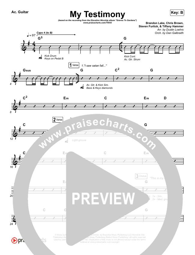My Testimony Rhythm Chart (Elevation Worship)