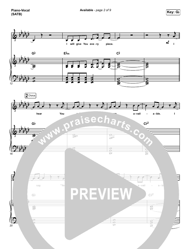 Available Piano/Vocal (SATB) (Elevation Worship)