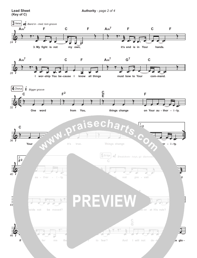 Authority Lead Sheet (Melody) (Elevation Worship)