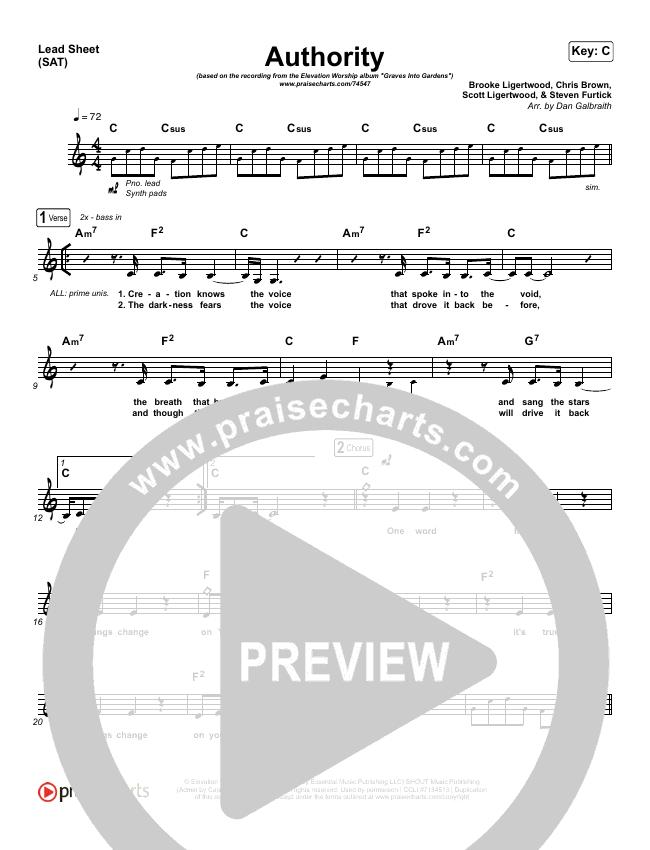 Authority Lead Sheet (SAT) (Elevation Worship)
