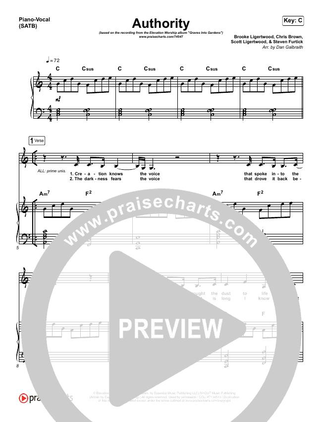 Authority Piano/Vocal (SATB) (Elevation Worship)