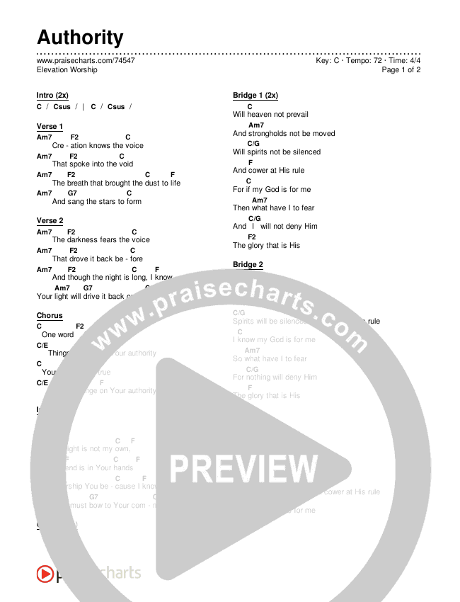 Authority Chords & Lyrics (Elevation Worship)