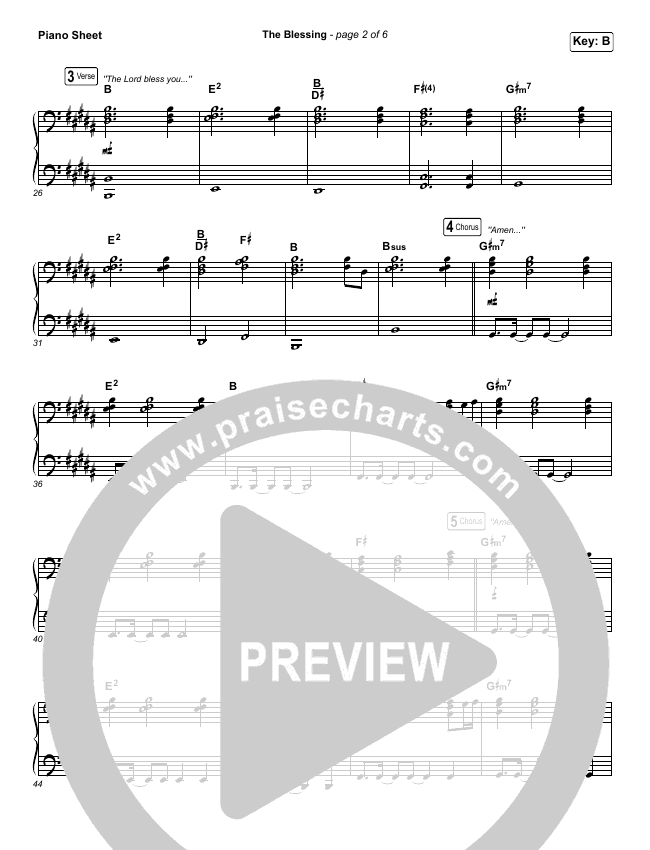 The Blessing (Live) Piano Sheet (Elevation Worship / Kari Jobe / Cody Carnes)