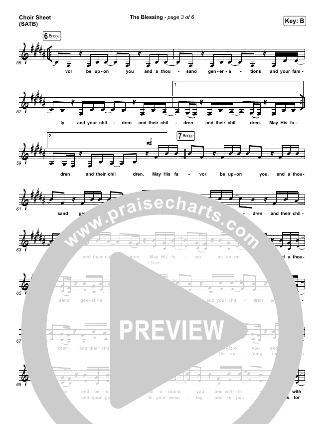 The Blessing (Live) Choir Sheet (SATB) (Elevation Worship / Kari Jobe / Cody Carnes)