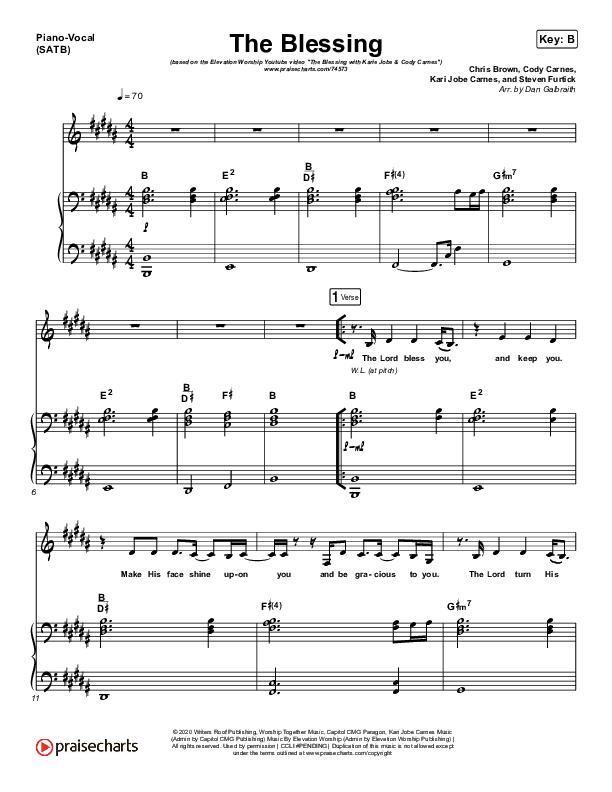 The Blessing (Live) Piano/Vocal (SATB) (Elevation Worship / Kari Jobe / Cody Carnes)