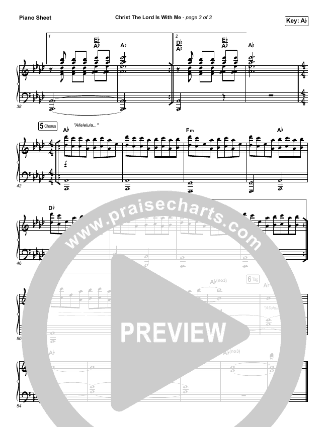 Christ The Lord Is With Me Piano Sheet (Steffany Gretzinger / Amanda Lindsey Cook / Wonder Grace Gretzinger)