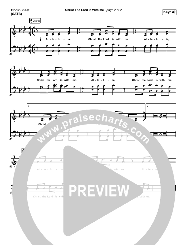 Christ The Lord Is With Me Choir Sheet (SATB) (Steffany Gretzinger / Amanda Lindsey Cook / Wonder Grace Gretzinger)