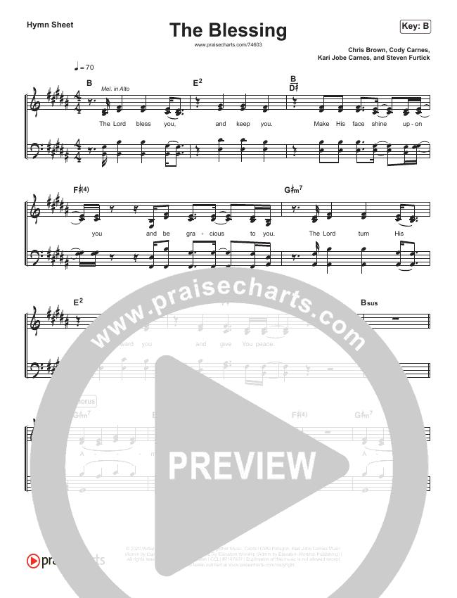 The Blessing (Simplified) Hymn Sheet (Elevation Worship / Kari Jobe / Cody Carnes)