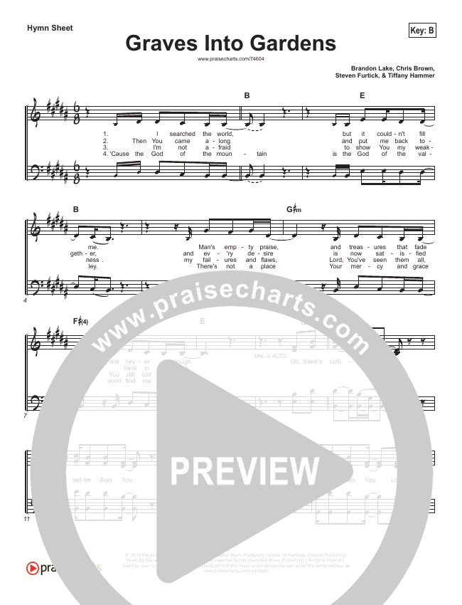 Graves Into Gardens (Simplified) Hymn Sheet (Elevation Worship / Brandon Lake)
