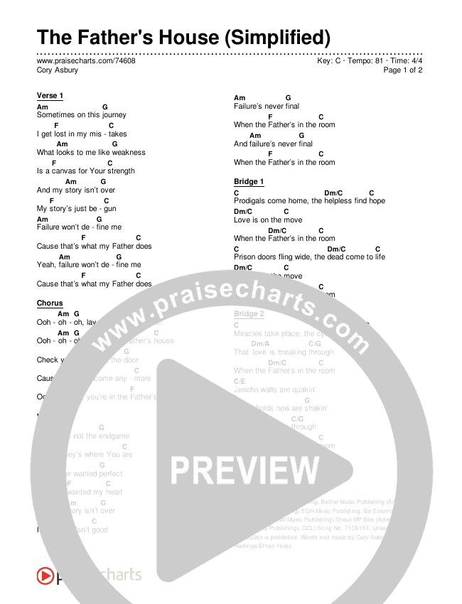 The Father's House (Simplified) Chords & Lyrics (Cory Asbury)