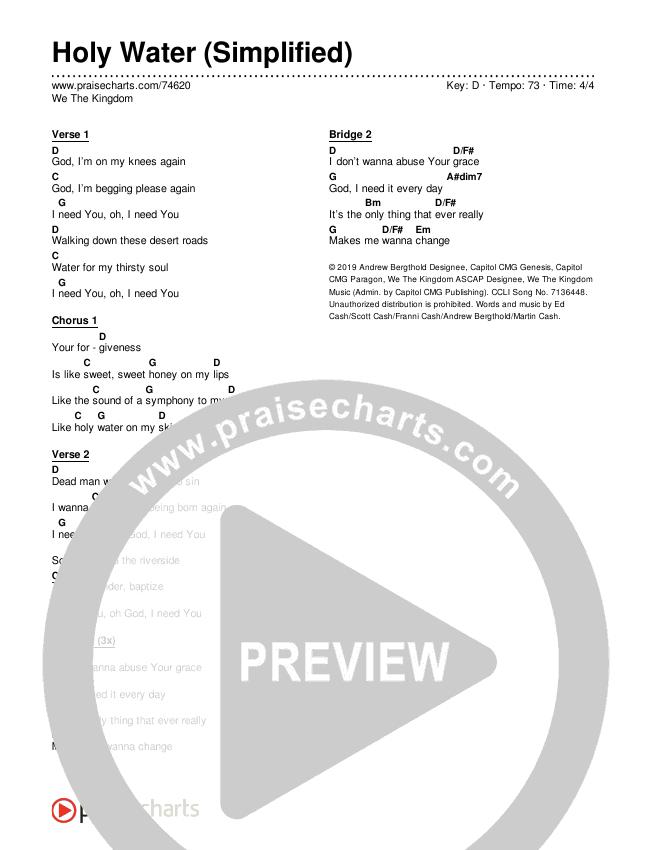 Holy Water (Simplified) Chords & Lyrics (We The Kingdom)