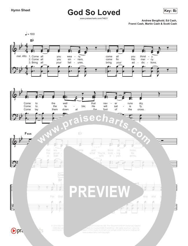 God So Loved (Simplified) Hymn Sheet (We The Kingdom)