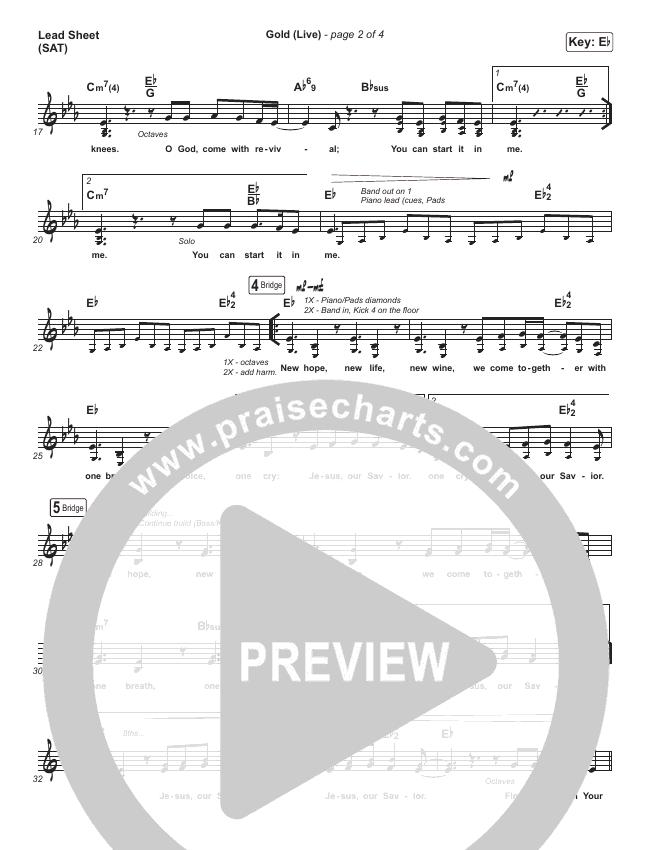Gold (Live) Lead Sheet (SAT) (Jesus Culture / Bryan & Katie Torwalt)