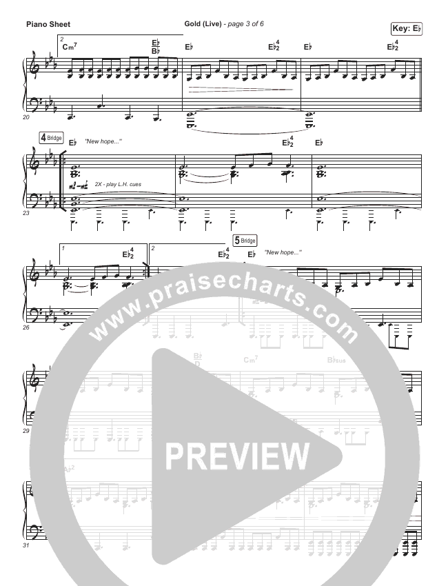 Gold (Live) Piano Sheet (Jesus Culture / Bryan & Katie Torwalt)