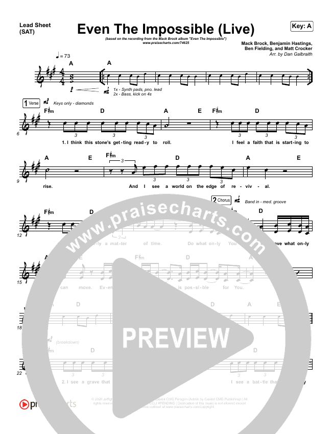 Even The Impossible (Live) Lead Sheet (SAT) (Mack Brock)