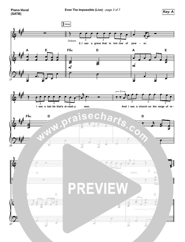 Even The Impossible (Live) Piano/Vocal (SATB) (Mack Brock)