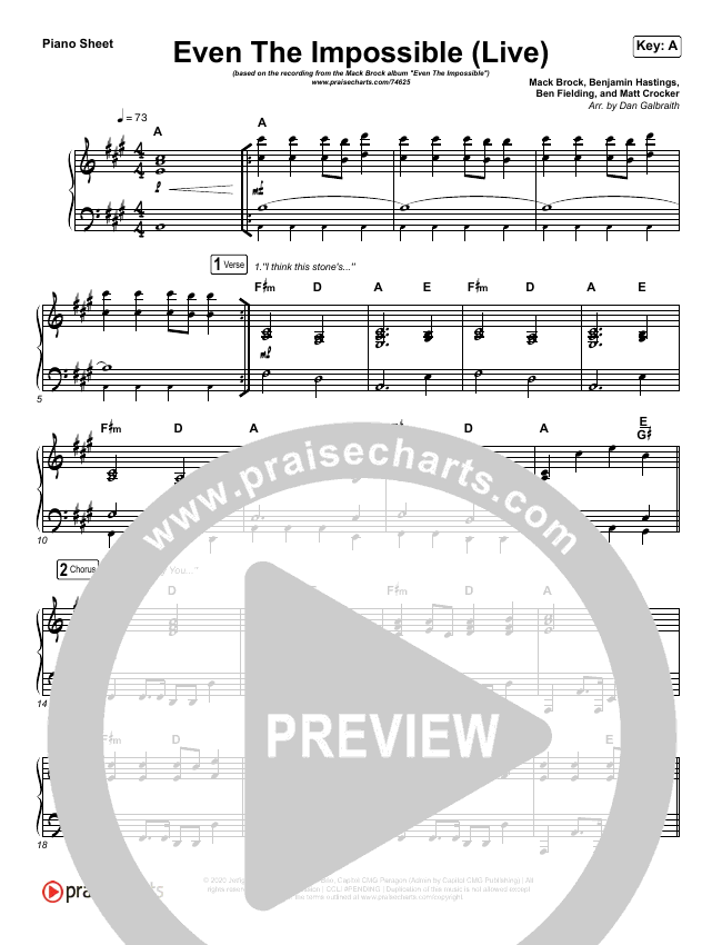 Even The Impossible (Live) Piano Sheet (Mack Brock)