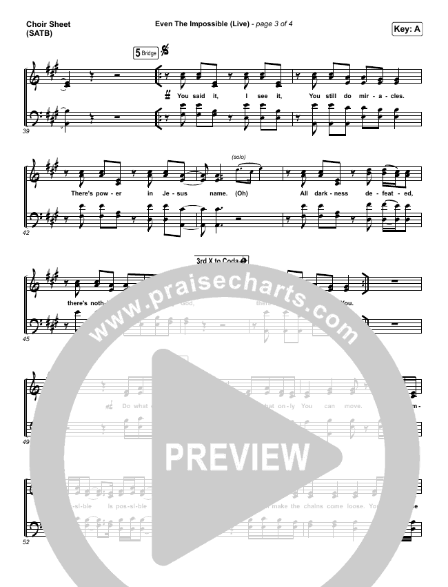 Even The Impossible (Live) Choir Sheet (SATB) (Mack Brock)