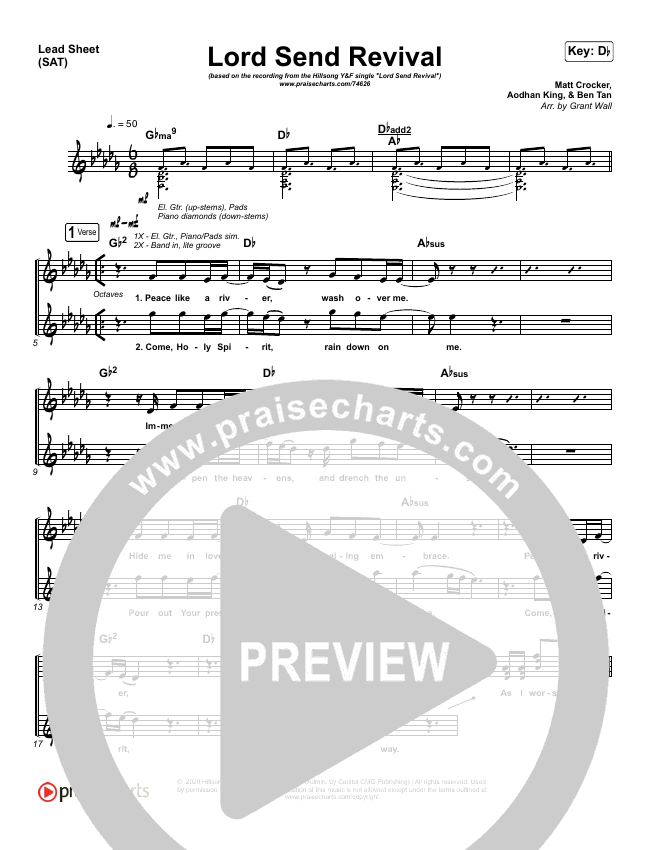 Lord Send Revival (Live) Lead Sheet (SAT) (Hillsong Young & Free)