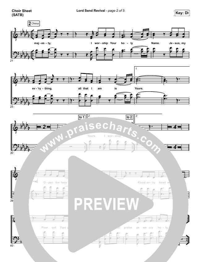 Lord Send Revival (Live) Choir Sheet (SATB) (Hillsong Young & Free)